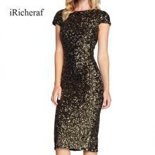 iRicheraf Women Sequin Sheath Midi Dress Feminino Black Backless Split Paillette Sexy & Club Party Dresses & Cosmetic Cotton(China)