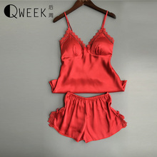 QWEEK Satin Pajamas Two Piece Set Women Sleepwear Silk Pajama Chest Pad Nightwear Women 2017 Summer Lace Women Lingerie Cotton