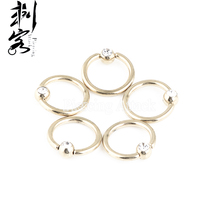 Body Jewelry Ball Closure  Ring Anodized  Captive Ring 14 Gauge 1.6*10*4mm Gold With Clear CZ Lot of 30pcs