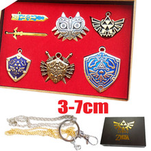 Anime The Legend of Zelda Shield Skyward Sword Blade Weapon Metal Charms Pendants Keychain Necklace Set Game Figure toy 6pcs/box