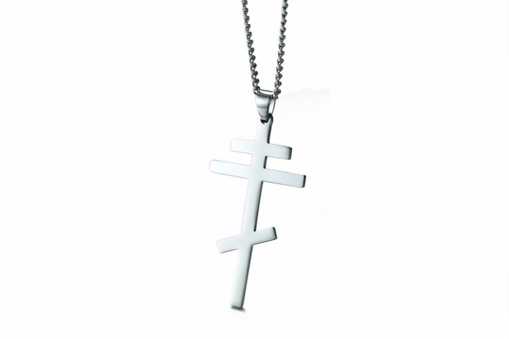Authentic Russian Orthodox Cross Pendant Necklace for Men SILVER 15