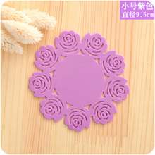 3pcs/lot 9.5cm Small Colorful Useful Food Grade Silicone Vinyl Coaster Cup Drinks Holder Mat Tableware Placemat Wholesale
