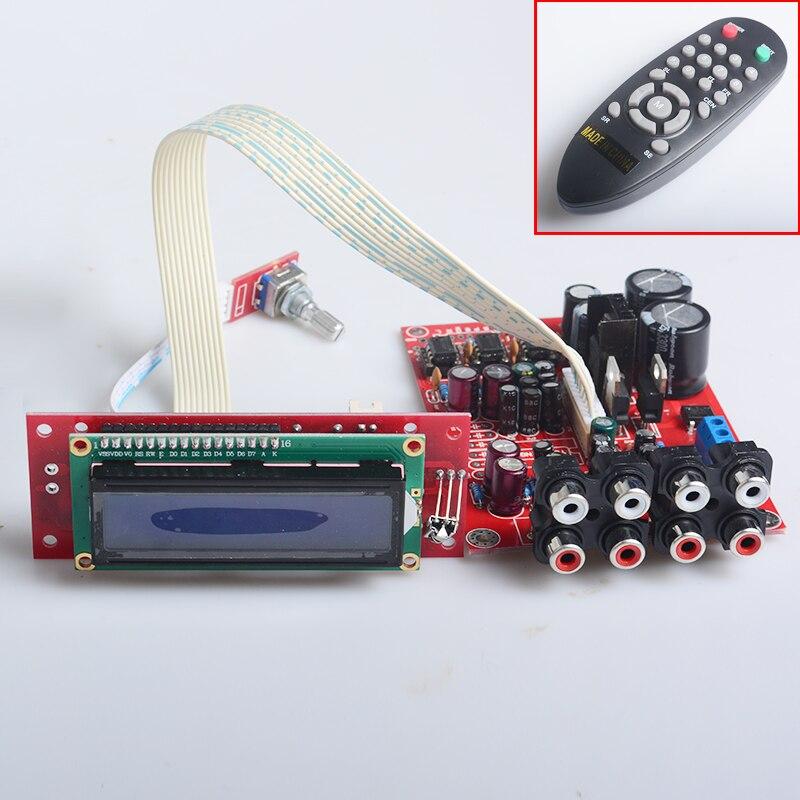YJH volume pre-amplifier dual AC12V-0-12V 6 channel remote mixing board M62446 + NE5532+ LCD dispaly Remote Control preamp board<br>