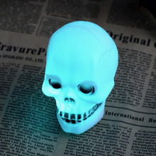 1 pc LED Colorful Flash Skull Night Light Lamp Halloween Party Decoration Gift free shipping Worldwide store