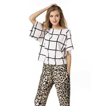 Women Windowpane Grid Print Chiffon Shirt Boat Neck Short T-shirt Loose Batwing Sleeve Plaided Fashion Summer Top Tees Plus Size