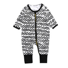 Infant Baby Boy Girl  Cotton Pajamas Long Sleeve Rompers  Line Printing O-Neck Jumpsuits With Zipper
