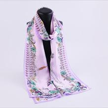 Women's 100% Mulberry silk pashmina printing scarf  8 momme silk georgette  55cm*180cm hand screen print made in Hangzhou