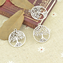 Wholesale 50pcs/lot metal antique alloy charm tibetan silver round life tree pendant fit jewelry making Z42725 free shipping(China)