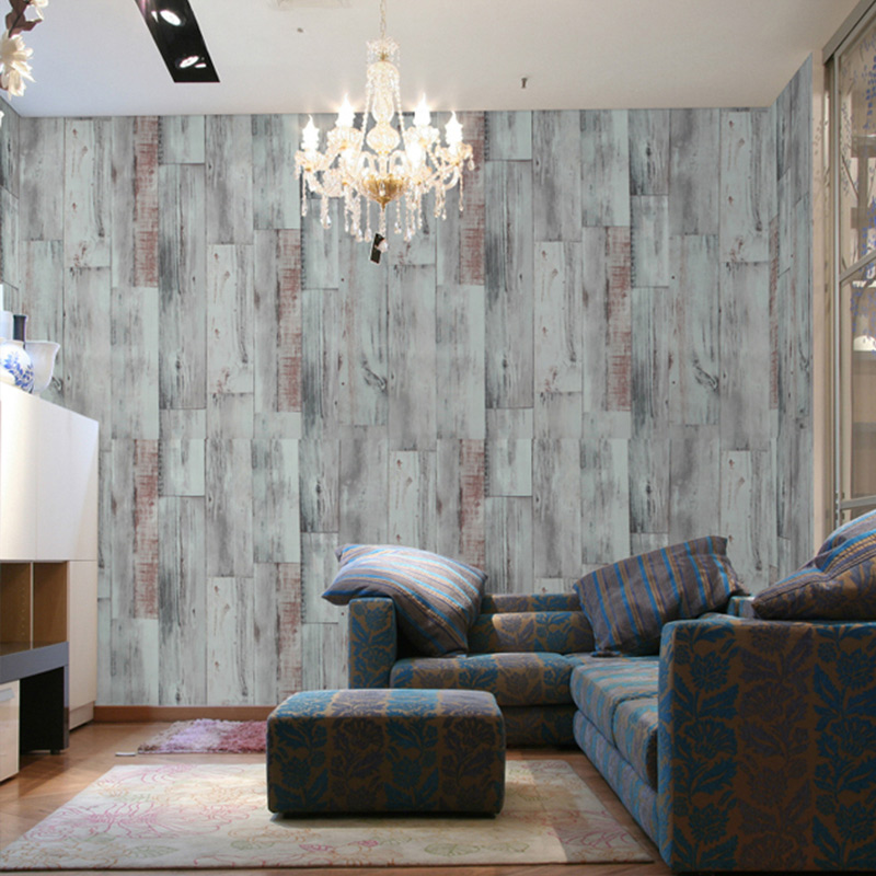 Non-woven American Retro Nostalgia Wood Grain Wallpaper Mediterranean Restaurant Personalized Wallpaper <br>