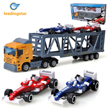 LeadingStar Children 1pc Container Truck Model + 2pcs Mini Race Car Toys Simulation Alloy Car Model Random Color zk30