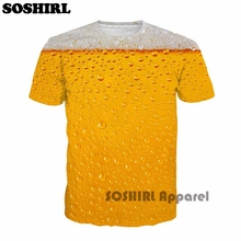 SOSHIRL Cool Summer Beer Full Print T Shirt Novelty Short Sleeve Tee Top Man Unisex Outfit High Quality Causal Dropship T-shirt(China)