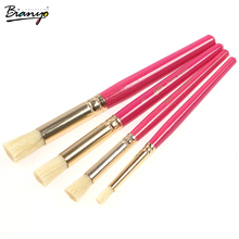 Bianyo 4 pcs brush for artists cylinder style high-end art drawing supplies watercolor brush pen pink color wooden for painting(China)