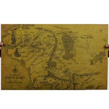Lord of the Rings middle earth map retro kraft paper posters wall stickers room decor 0217. home decal movie fans mural art 5.0