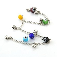 Colorful Evil Eyes Metal Women Ankle Chain Anklet Lampwork Glass Charms Ankle Bracelet 8mm(China)