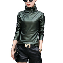 2017 Autumn Winter Warm Tops PU Leather T Shirt Women Long Sleeve Turtleneck T-shirt Velvet Women Tee Shirt Camisetas Feminina(China)