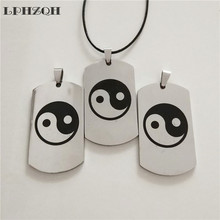 LPHZQH fashion Stainless Steel Dog Tag necklace Yin Yang Tai Chi pendant necklace Women Men chain choker necklace jewelery