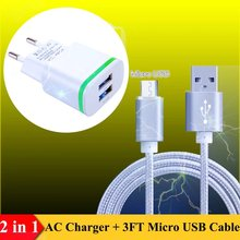 US/Euro AC Plug Travel Charger + 3FT Micro USB Cable for Vertex Impress - In Touch 3G, Novo, Eno, Glory, Jazz, Open, Cult, Max