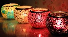6 pcs Fashion Hot Home Decoration Glass mosaic lantern Candle Holders for KTV bar Wedding Candlestick