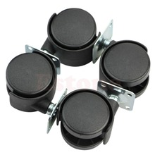"E74 Set of 4 1"" Swivel Plate Caster Nylon Wheel Chair Table Replacement Parts New"