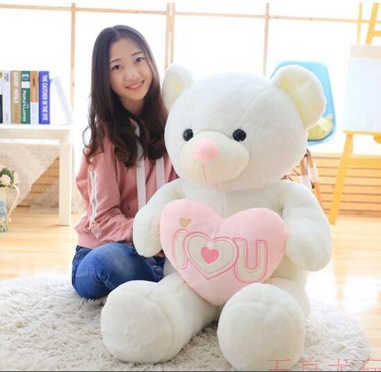 120cm Huge teddy bear doll stuffed teddy bear plush toys I love you, bear hearts Gift of girlfriend<br>