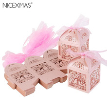 50pcs Hollow Bird Style Wedding Favor Candy Boxes Gift Boxes with Ribbons (Pink)(China)