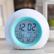 New Nature Sound 7 Color Digital LED Glowing Change Thermometer Clock Alarm Hot