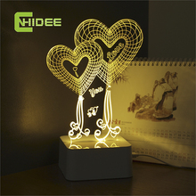 USB Lampara Led Lights Love Heart 3d Touch Table Lamp for Wedding Decoration Fairy Night Lights as Valentine Gifts