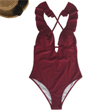Buy 2018 Sexy Ruffle One Piece Swimsuit Women Swimwear Push Monokini Bodysuit Swim Suit Backless bikini Bathing Suit Beach Wear