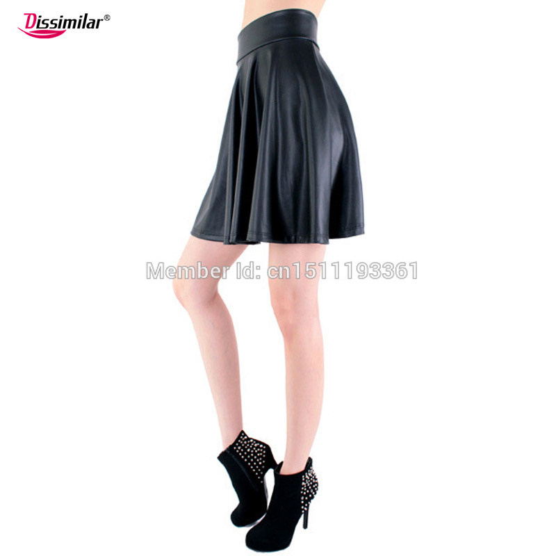 free shipping new high waist faux leather skater flare skirt casual mini skirt above knee solid color black skirt S/M/L/XL 11