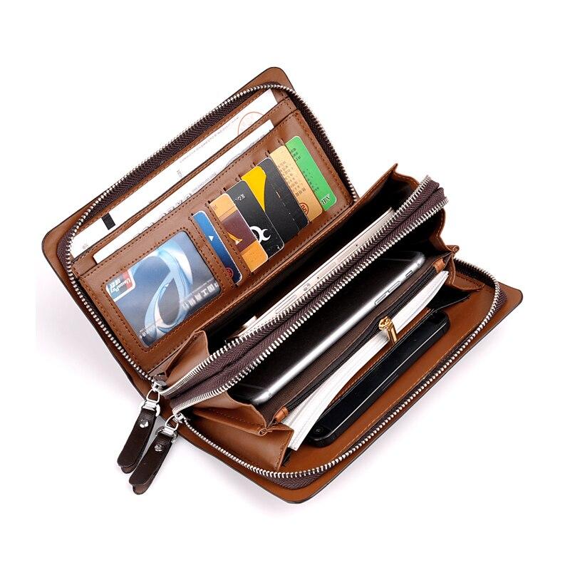 Men Leather Long Clutch High Capacity Purse Business Double Zipper Casual Wallet