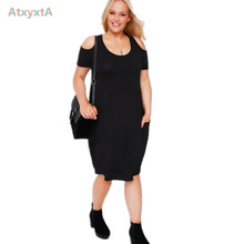 Sarafan 4XL 5XL Plus Size Black Dress 2017 Casual Summer Dresses Sundress New Cold Shoulder Style Knitted Clothing