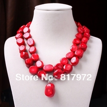 New Charm Chunky Red Coral Bead Dangle Pendant Necklace Woman Fashion Party &6N0081(China)