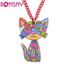 Bonsny Acrylic Cat Necklace Pendant Chain Collar Choker Pendant  Animal Fashion Jewelry For Women Girs 2016 News Accessories