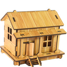 DIY House 3D jigsaw puzzle toys wooden adult children's intelligence developmental toys House Model Building Kits Krystal