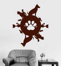 Pet Planet Vinyl Art Wall Decal Animal Shop Cat Dog Stickers Mural Kid Room Sofa Background Wall Sticker Monochrome Poster LA464(China)