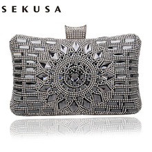 SEKUSA Acrylic Women Handbags Diamonds Clutch Evening Bags Messenger Shoulder Bags For Wedding/Party/Dinner Small Day Clutches