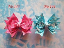"wholesales hand customize free shipping 150pcs BLESSING Good Girl Boutique 3.5"" Snowflake Hair accessories Bow Clip(China)"