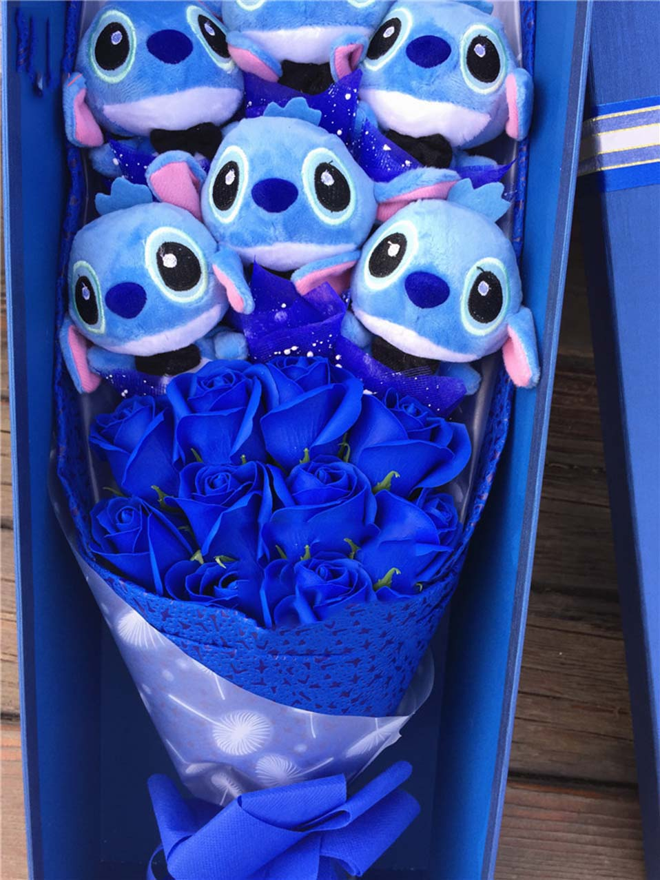 kawaii Stuffed Toys soft stitch bouquet plush stuffed animals toys gifts Artificial Lovely Cartoon Fake Flowers wedding decoration (2)