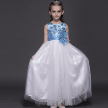 Top Quality Tulle Prom Dress Graduation Gown Evening Dress Formal Wear Piano Performance Sky Blue Girls Dress Kids Clothing