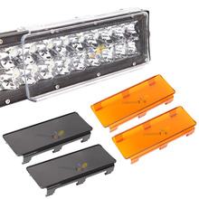 "2x 6"" / 8 Inch Plastic Hoods LED Work Light Bar Dust Proof Protective Covers 4x4 4WD 12V 24V Amber Clear Black Color Lamp Shell"
