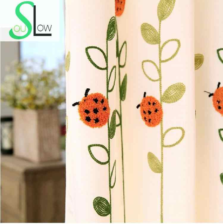 [Slow Soul]Playful Little Ladybug Fresh Towel Embroidery Curtain Plant Embroidered Curtains Living Room Children Tulle curtains