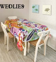 Lilac Bouquet Vinyl Tablecloth Party Table Cloth Waterproof Oilproof Square Cover Starry Sky Digital Cover For Kitchen Table(China)