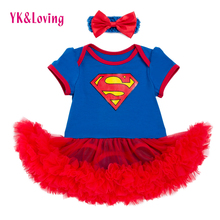 New Style Newborn Dress Baby Clothes Girls Superman Blue Rompers Ruffle Toddler Tutu Dresses Girl Party Clothes for Birtthday(China)