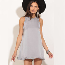 Buy 2017 sexy women summer dress solid color shoulder hollow loose youth slim sleeveless round neck comfortable mini dress for $7.50 in AliExpress store