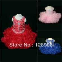 Sparkly Jewel Girls Pageant Dresses Royal Blue Pink Red Organza Ruffles Mini Dresses for Little Girls 2016