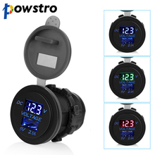 Powstro 5V 2.1A USB Ports Car charger Voltage and current display car Vehicle Power Socket Adapter Waterproof Charging For phone