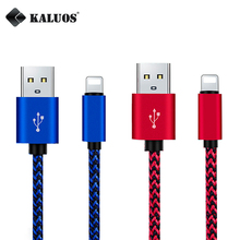 KALUOS Fast Charging USB Cable For iPhone 5/5S/5C 6/6S 7 Plus Mobile Phone Metal Nylon Braided USB Data Transfer Cable 1m 2m 3m