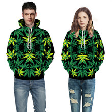 Harajuku Green Weed Hemp Leaf Printed 3D galaxy digital Hoodies Fashion Outerwear casual Sweatshirt streetwear hip hop Clothes