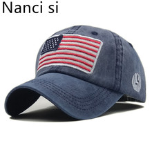 Nanci si USA Flag Washed Baseball Cap Embroidery Cotton Snapback Caps Casquette Hats Fitted Casual Gorras Dad Hats Men Women