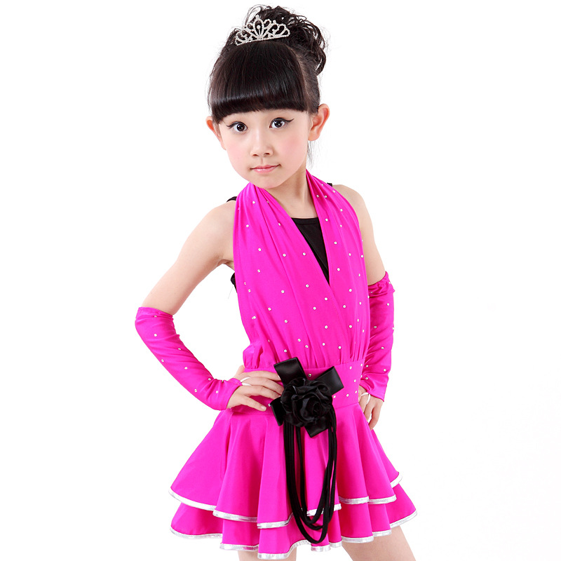 Fashion Childrens Day Evening Dress Fashion V-neck Shining Rhinestones Sequined Girls Sleeveless Ballet Performance Clothing<br><br>Aliexpress